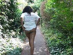 Ebony Babe Mels Teasing Public Flashing