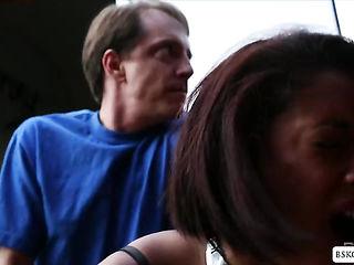 Sexy ebony babe Skin Diamond sucks and fucks a fat cock