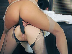 Two sexy hot lesbians with strapondildo