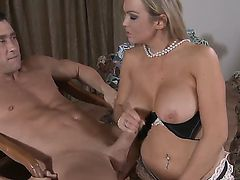 Blonde Abbey Brooks with round booty and smooth twat gets the pleasure from pussy fucking with Billy Glide like never before