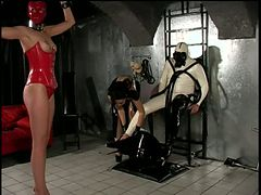 Poor Latex Couple Abused by Dominatrices