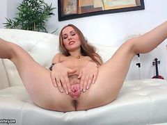 Upskirt and sexy striptease with fingering
