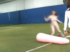 College lesbian freshwoman facesitting after making sports naked
