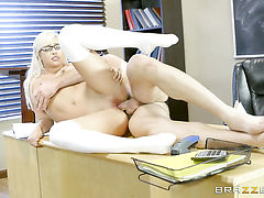 Charles Dera gets his always hard dick eaten by Blonde Kylie Page with massive jugs