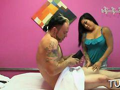 Man seduces lewd massagist and fucks with her