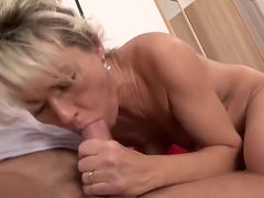 Young Guy Fucks Blonde Hard With Hairy Pussy
