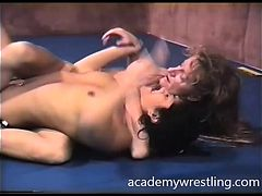 Nude Girls brawl to a pussy smack fight in academy wrestling