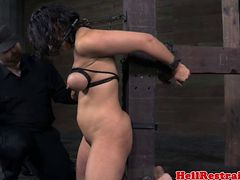 Pathetic Restrained Sub Has Her Tits Punished