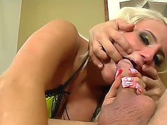 Beautiful and hot blonde bitch opens her sweet mouth and gives an amazing blowjob