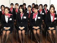 Japanese AV Model and friends give blowjobs to all office men
