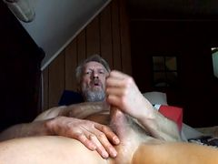 Old man Wanks his cock and cums.