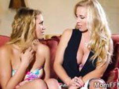 Rebecca Moore teaches stepdaughter Mia how to give a blow