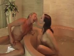 She is taking a bath with her Slave
