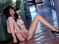 Elegant and hot babe Bree Daniels rubs her natural boobs and masturbates