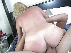 Ashley rides cowgirl and gets pounded in doggystyle.