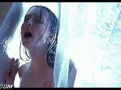 Busty Brunette Katharine Isabelle Flashes Her Big Boobs In The Shower