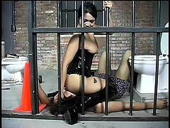 Asian Dominatrix goes into her dungeon to punish a male criminal